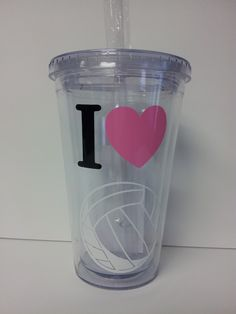 I Heart Volleyball Tumbler w/ Straw and Lid