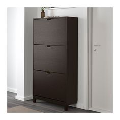 STÄLL Shoe cabinet with 3 compartments, black-brown black-brown 31 1/8x58 1/4