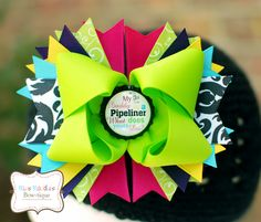 """Custom 5 inch """"My Daddy Is A Pipeliner, What Does Yours Do?"""" Bottle Cap Hair Bow (copyright Miss Maddie's Bowtique"""