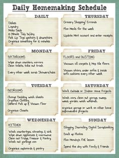 daily Cleaning Schedule...in case i decide i want to REALLY domesticate myself!