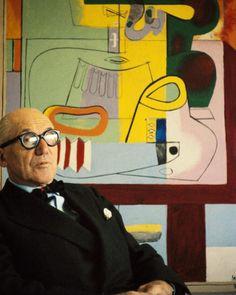 "Rene Burri 'Le Corbusier' sitting by his 1939 painting ""Nature morte, Vezelay"" Le Corbusier, Famous Artists, Great Artists, Art Moderne, Art Studios, Artist At Work, Oeuvre D'art, Art History, Modern Art"