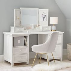 Create a spacious and stylish primping station with this collection detailed with classic beadboard paneling. To convert it into a desk, simply remove the vanity hutch from this set for a versatile workspace with lots of room for storage. White Vanity Desk, Teen Vanity, Girls Vanity, Vanity Drawers, Vanity Set, Vanity Ideas, Vanity Desk With Mirror, Small Vanity, Diy Vanity