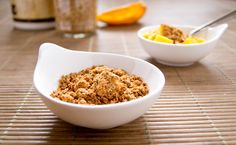 Light crunchy granola that's Vegan Gluten Free and Grain Free. Raw Food version too! Raw Food Recipes, Brunch Recipes, Free Recipes, Grain Free Granola, Pescatarian Recipes, Raw Vegan, Vegan Gluten Free, Paleo, Food Photo