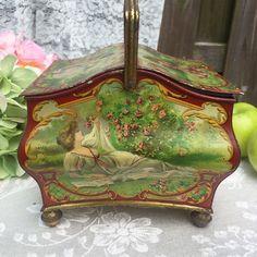 Stunning Antique 1902 Arcadian Tin Litho Box by WonderCabinetArts