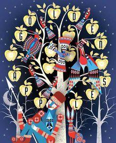 illustration, tree, birds words