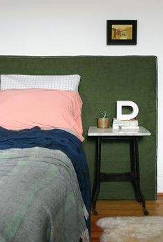 DIY Headboard with Upholstered Green Linen Fabric Slipcover
