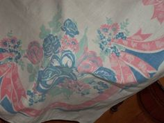 Vintage Tablecloth Roses bows shabby and chic pastels cottage little flowers