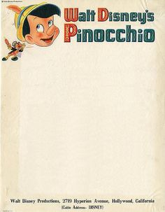 Letterhead used by Walt Disney himself in March, a few weeks after Pinocchio premiered in the US. Disney Magic, Disney Art, Walt Disney, Letterhead Design, Graphic Design Typography, Letterhead Examples, Pinocchio, Scrapbook Da Disney, Imprimibles Toy Story Gratis