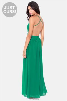 LULUS Exclusive Rooftop Garden Backless Emerald Green Dress. $49. Kinda love this!!