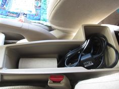 Day 30: After, part 2: Center console. Lint brush plus car chargers and GPS. Nice! @Becky_ Organizing Made Fun™ #spontaneousorganizing