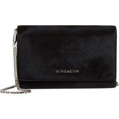 Givenchy Haircalf Pandora Chain-Strap Wallet ($599) ❤ liked on Polyvore featuring bags, wallets, black, clutches, malas, purses, black bag, shoulder strap bag, shoulder bags and givenchy wallet