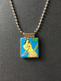 Handmade Vintage Hula Dancer pendant, vintage Hawaiian jewelry, recycled scrabble tile jewelry, vintage Hawaiian hula girl necklace, summer by InSmallPackages on Etsy