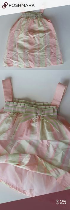 Janie and Jack Baby Girls Dress 18-24M 100% Silk Perfect little Easter dress in Pink and Pastel Green stripes. Dress is 100% Silk and is fully lined in Polyester. Dress also has a little bit of white tulle along the bottom. Janie and Jack Dresses