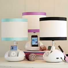 charge up your phone and rock out at the same time with this tune-it-base lamp