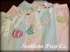 Seersucker Pajama Pants  BLUE by SouthernPrepCo on Etsy
