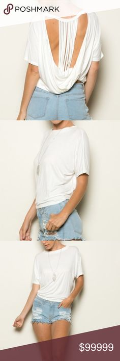 """White Open Back Top New draped open back top with cutout detailing in white. Relaxed fit and cut higher in the back. Material is soft 95% cotton and 5% spandex. Measurements are ordered Bust, Front Length, Back Length OS: 25"""", 19.5"""", 16.5"""" Vega Boutique Tops Tees - Short Sleeve"""