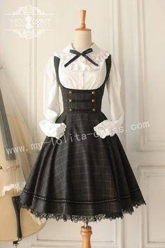 College School Style Vintage Tartan Lolita Jumper Dress $60.99-Cotton Lolita Dresses - My Lolita Dress