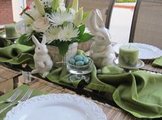 Decoration, Captivating easter decorations for the home white plastic bunny figurine white flower arrangement chrome metal candle stand clear glass egg cup blue decorative egg green table runner easter tablescape: Fascinating easter decorations for the home