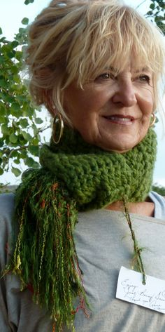 Crochet Scarf Green Winter Original by hatsbyanne1942 on Etsy, $44.00