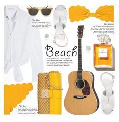 """Guitar On The Beach Summer Date Straw Bags"" by jiabao-krohn ❤ liked on Polyvore featuring Maje, Marysia Swim, Maison Margiela, Chanel, Lipsy, MICHAEL Michael Kors, Salvatore Ferragamo, Amanda Rose Collection, Summer and beach"