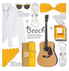 """Guitar On The Beach Summer Date Straw Bags"" by jiabao-krohn ❤ liked on Polyvore featuring Maje, Marysia Swim, Maison Margiela, Chanel, Lipsy, Michael Kors, Salvatore Ferragamo, Amanda Rose Collection, Summer and beach"