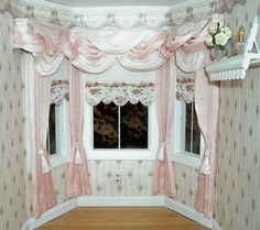 Dollhouse Bay Window Pink and White Curtain Drape