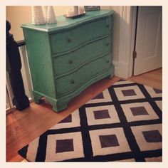 @Savvy in San Francisco Loves her new Z Gallerie Crackle Aquamarine Chest at the top of her stairs!