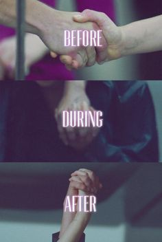 Katniss Everdeen and Peeta Mallark holding hands before, during, and after The Hunger Games