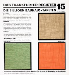 The cheap Bauhaus wallpaper range, Supplement of the magazine Das neue Frankfurt Presenting products of the wallpaper company Rasch, Germany. Frankfurt, Wallpaper Companies, Walter Gropius, Maker, Card Holder, Post, Blog, History, Berlin