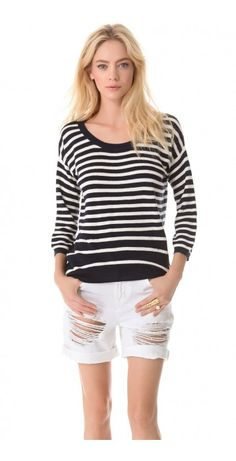 PEYTON STRIPE SWEATER $137.56 SPECIAL $44.80 YOU SAVE: 67% Bold stripes lend mod flair to a cozy Juicy Couture sweater, while the asymmetrical hem lends soft movement. Long sleeves. Semi-sheer.