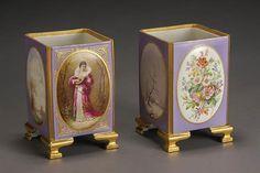 Pair of Paris Porcelain Pictorial Square Section Vases Third Quarter 19th Century