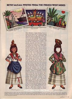Betsy McCall Mag Paper Doll Betsy Writes from the French West Indies Feb 1973 Paper Toys, Paper Crafts, French West Indies, Newspaper Paper, Paper Dolls Printable, Afghan Blanket, Vintage Paper Dolls, Free Paper, Art Pages
