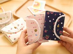 Sweet Fresh Florals Canvas Card Cover Bus Bank Id Card Case Holder #Affiliate