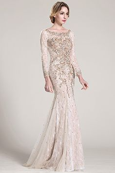Lange Ärmel Wulstig Spitze Formal Kleid Abschlussballkleid (C36152414) #Abendkleid #Ballkleid #eDressit #Mode
