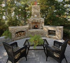 Outdoor Rooms: Triad New Home Outdoor Brick Fireplace Outside Fireplace, Backyard Fireplace, Brick Fireplace, Fireplace Outdoor, Outdoor Stone Fireplaces, Outdoor Fireplace Designs, Outdoor Rooms, Outdoor Living, Outdoor Decor