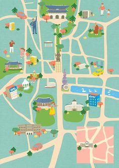 Seoul Street Arts Festival map illustration on Behance Graphic Design Books, Map Design, Travel Illustration, Graphic Design Illustration, Seoul Map, Zoo Map, Street Art, Life Map, Art Festival