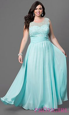 Long Sleeveless Dress with Lace Bodice at PromGirl.com