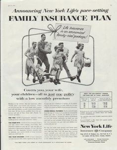 "Description: 1957 NEW YORK LIFE vintage print advertisement ""Family Insurance Plan""-- Announcing New York Life's pace-setting Family Insurance Plan."