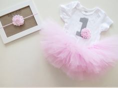 Pink Baby Girl's First Birthday Outfit - Personalized Shabby Chic Bodysuit, Tutu and Headband - Light Pink Birthday on Etsy, $35.00