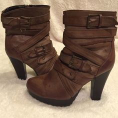 Short boots with heel Gently used with lots of straps; comfortable and look good with anything Shoes Heeled Boots