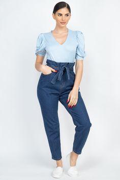 Paper Bag Denim Jeans   KjSelections Jeans Denim, Sexy Jeans, Mom Jeans, Paper Bag Design, Ponte Pants, Camo Leggings, Capri, Dark Denim, High Waist Jeans