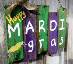 Party Decorations - Mardi Gras Decoration Mardi Gras Door Hanger Mardi by PaePaesPlace