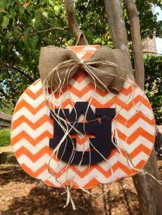 Auburn Chevron Pumpkin door hanger by SIMPLICITYWOOD on Etsy
