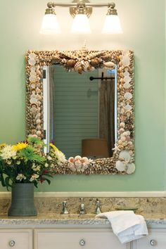 Bathroom Mirrors Coastal bathroom mirror redo | sea shells, what to do and all.