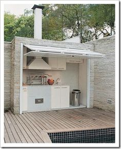 Like a mini kitchen outside!!! Would love this under the deck and by the pool, or just on the deck!!