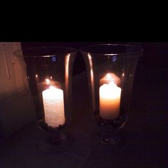 Partylites original pillar candle on the right and the exclusive GLOlite pillar on the left!
