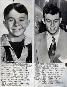 "Former child actor, star of ""Our Gang"" ,Carl Switzer (Alfalfa) was shot to death and killed in a fight on Jan. 21, 1959. He was 33 years"