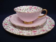 Shelley BRIAR ROSE Chintz Pink Oleander Cup Saucer, Plate Trio