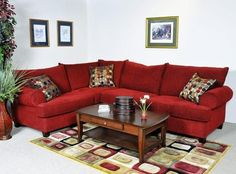 Chelsea Home Furniture - Red Letter Sectional - Bounce Scarlet - 2090-2pc-Sec traditional sectional sofas