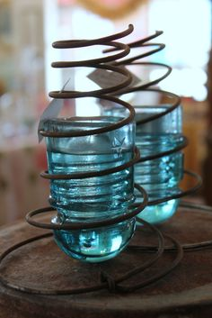Kathy's bed spring candle holders